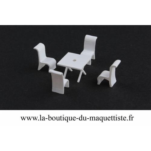 2 table ronde 4 chaise 1/87